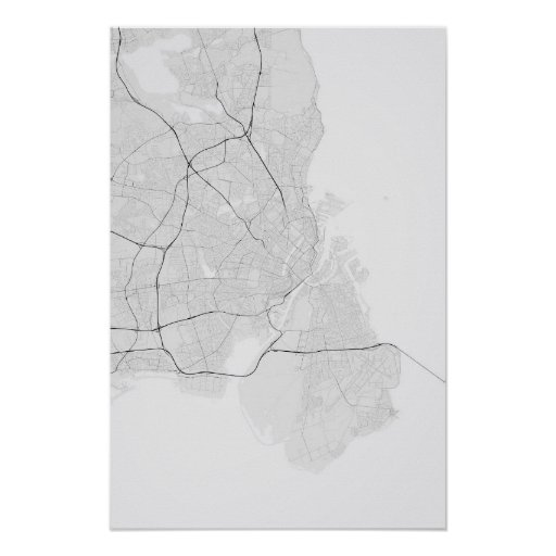Copenhagen, Denmark Map. (Black on white) Poster