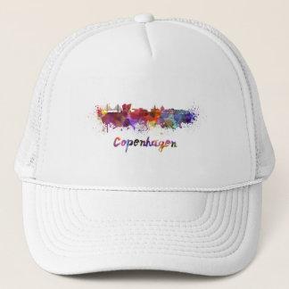 Copenhagen skyline in watercolor trucker hat