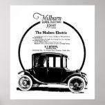 Copie 1919 vintage d'annonce de voiture électrique posters