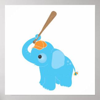 Copie bleue d'art de mur de crèche d'éléphant poster