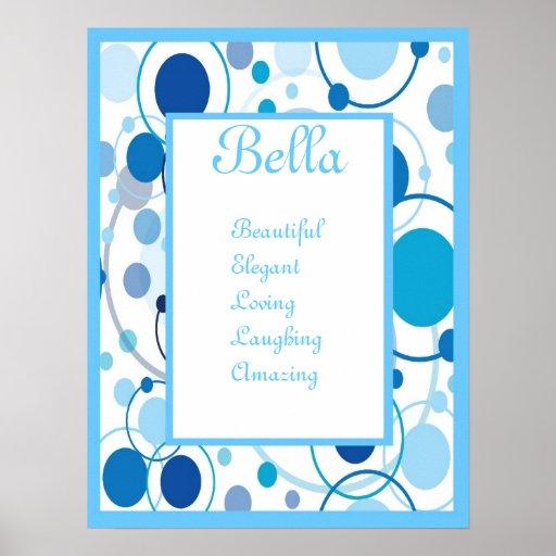 Copie bleue géniale d'art de mur de nom de bébé d' affiches