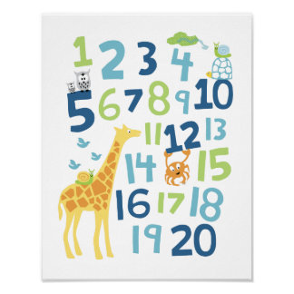Copie d art de mur de crèche de nombre de girafe posters