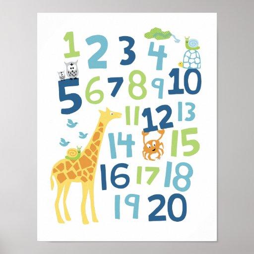 Copie d'art de mur de crèche de nombre de girafe posters