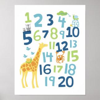 Copie d'art de mur de crèche de nombre de girafe poster