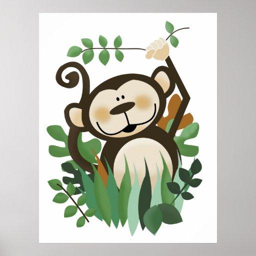 Copie d'art de mur de safari de jungle de singe affiche