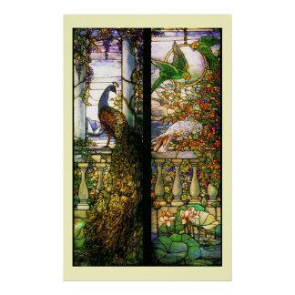 Copie de perroquets de paon en verre souillé de Ti Poster