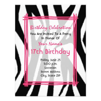 Copie de zèbre et invitation d anniversaire de mod
