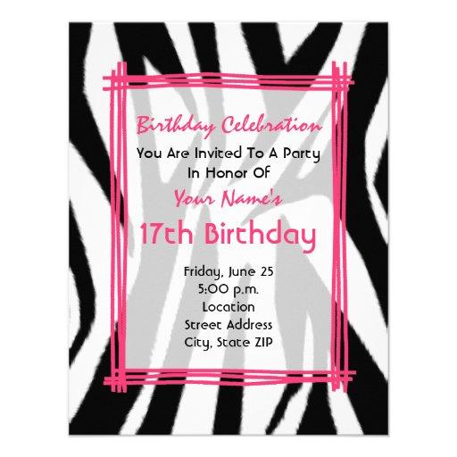Copie de zèbre et invitation d'anniversaire de mod