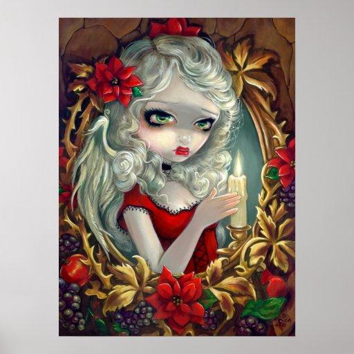 Copie féerique d'art d'ange de bougie de Noël Posters
