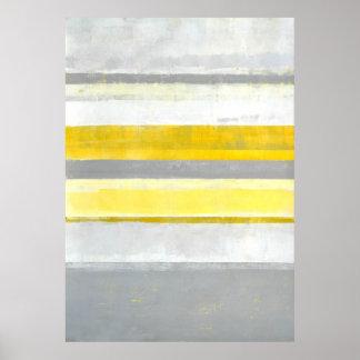 """Copie grise et jaune de """"citron"""" d'art abstrait poster"""