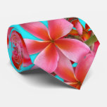 Copie hawaïenne de Plumeria d'Aqua et de rose Cravate Avec Motifs