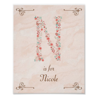 Copie initiale d'art de monogramme de nom de bébé poster