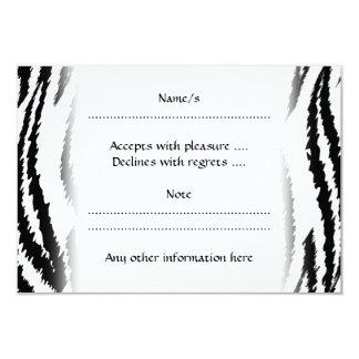 Copie noire et blanche de tigre. Modèle de tigre Carton D'invitation 8,89 Cm X 12,70 Cm