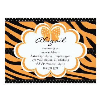 Copie orange et noire de tigre carton d'invitation  12,7 cm x 17,78 cm