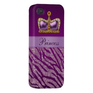 Copie pourpre de princesse Crown Faux Glitter Zebr Coques iPhone 4/4S