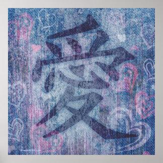 Copie rose bleue chinoise d'affiche de symbole poster