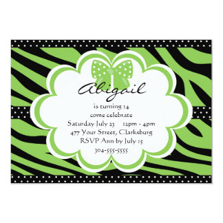 Copie verte et noire de tigre carton d'invitation  12,7 cm x 17,78 cm