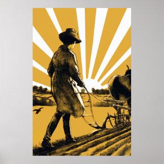 Copie vintage d affiche de fille de charrue