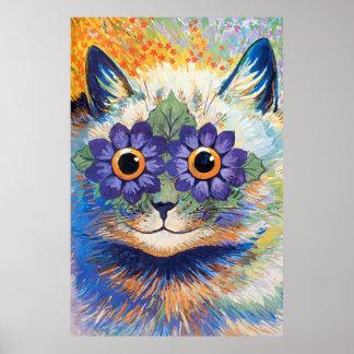 Copie vintage d'affiche d'art de chat de flower po