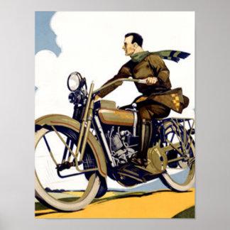 Copie vintage de motocyclette d'art déco poster