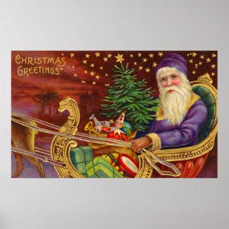Copie vintage de réveillon de Noël Poster