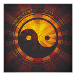 Copie vintage de symbole de Yin Yang Poster