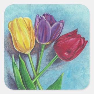 Copie violette rouge jaune d'art de tulipes sticker carré