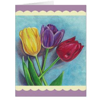 Copie violette rouge jaune d'art de tulipes