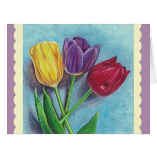 Copie violette rouge jaune d'art de tulipes carte de vœux grand format