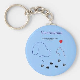 Copies de Vétérinaire-Patte sur mon coeur Porte-clef