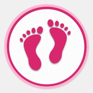 Copies roses de pied de bébé sticker rond