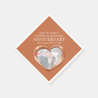 Copper 7th anniversary heart photo names napkins