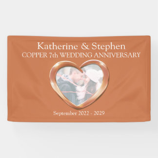 Copper 7th Wedding anniversary heart photo banner
