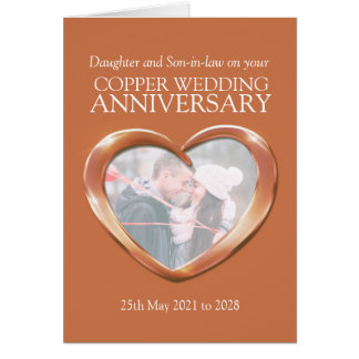 Copper 7th wedding anniversary photo card