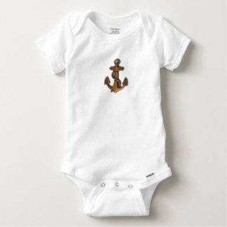 Copper Anchor on White Baby Onesie