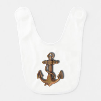 Copper Anchor on White Bib