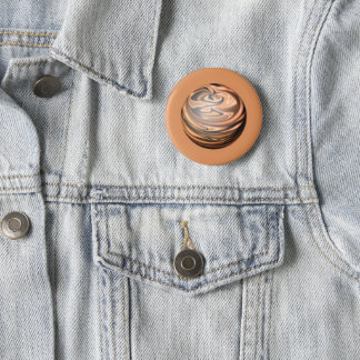 Copper and Black Colored Marble 2 Inch Round Button