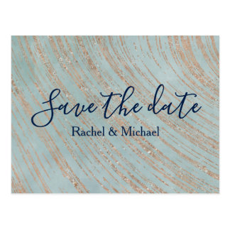 Copper and Blue Marble Save the date Postcard