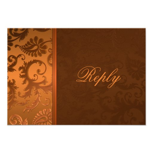 Copper and Brown Damask Reply Card Custom Announcement