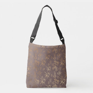 Copper and Brown Wild Flower Design Tote Bag