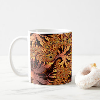 Copper and Gold Autumn Coloured Leaves Fractal Art Coffee Mug