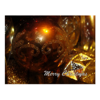 Copper and Gold Christmas Bulbs Postcard