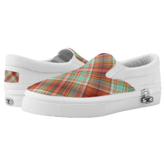 Copper and Green Plaid Slip On Sneakers