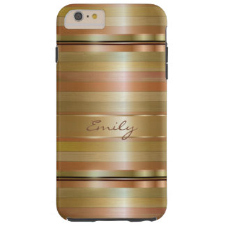 Copper And Metallic Gold Stripes Tough iPhone 6 Plus Case