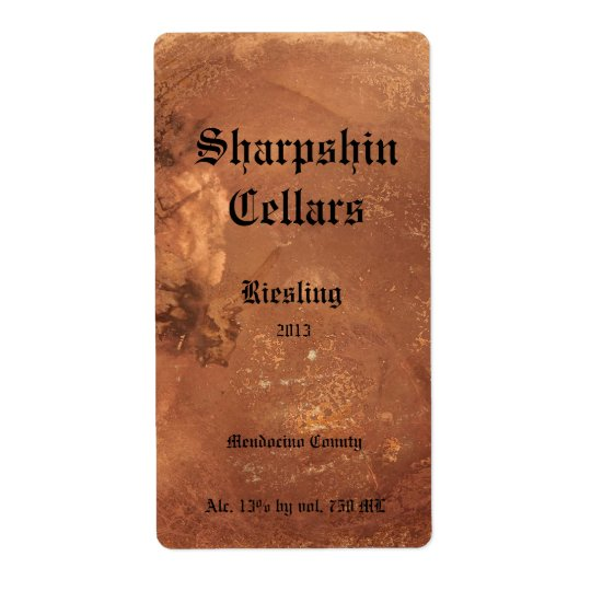 Copper background wine label