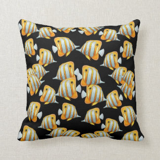 Copper Band Butterfly Fish Black Pillows