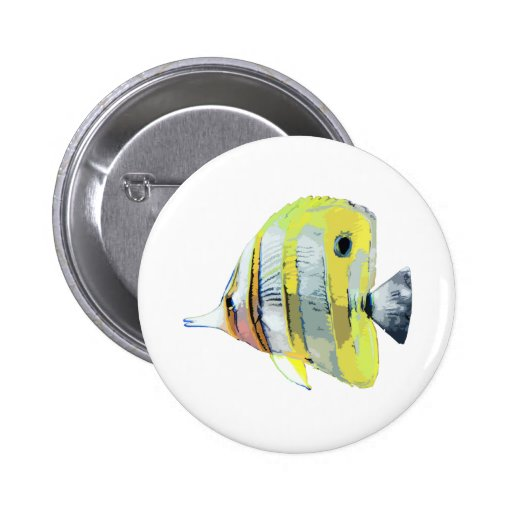 Copper-banded Butterfly Fish Pinback Button