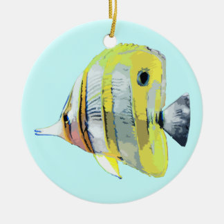 Copper Banded Butterfly Fish Round Ceramic Ornament