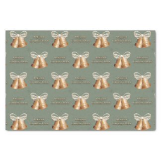 Copper Bells & Cream Bow Merry Christmas Tissue Paper