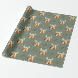 Copper Bells & Cream Bow Merry Christmas Wrapping Paper